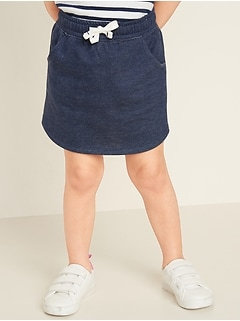 French Terry Functional-Drawstring Skirt for Toddler Girls