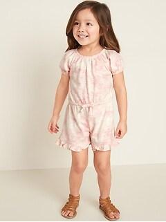 Ruffle-Hem Romper for Toddler Girls