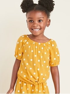 Printed Tie-Hem Blouse for Toddler Girls