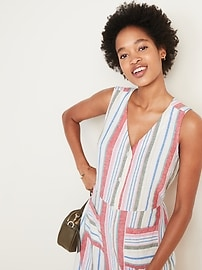 Striped Button-Front Linen-Blend Fit & Flare Dress for Women