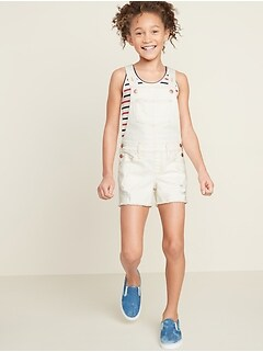 Pop-Color Frayed-Hem Jean Shortalls for Girls