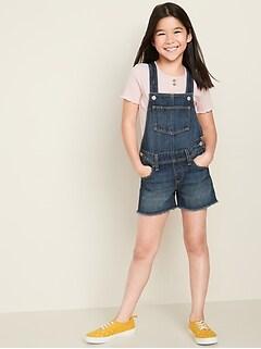 Dark-Wash Frayed-Hem Jean Shortalls for Girls