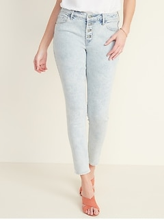 Mid-Rise Rockstar Super Skinny Acid-Wash Jeans for Women