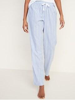 Printed Poplin Pajama Pants for Women
