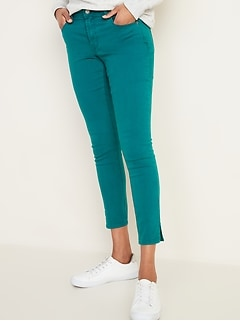 Mid-Rise Pop-Color Side-Slit Rockstar Super Skinny Jeans for Women