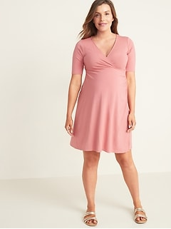 Maternity Faux-Wrap Jersey Dress