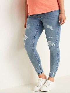 Maternity Premium Full Panel Distressed Rockstar Jeans