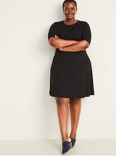 Rib-Knit Fit & Flare Plus-Size Dress