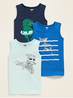 Graphic Crew-Neck Muscle Tank 3-Pack for Toddler Boys