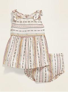 Printed Tie-Shoulder Top & Bloomers Set for Baby