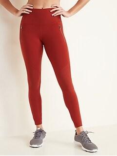 High-Waisted Zip-Pocket Side-Rib Elevate 7/8-Length Leggings for Women