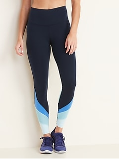 High-Waisted Color-Blocked Mesh Elevate 7/8-Length Leggings for Women