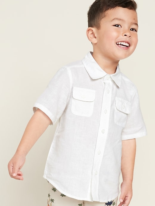 Linen-Blend Cargo-Pocket Shirt for Toddler Boys