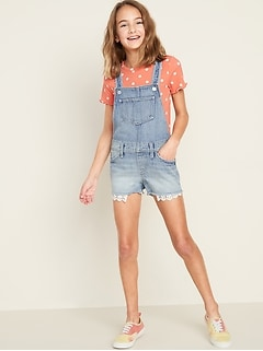 Light-Wash Exposed-Pocket Jean Shortalls for Girls