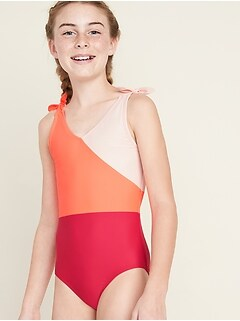 Color-Blocked Tie-Shoulder Swimsuit for Girls