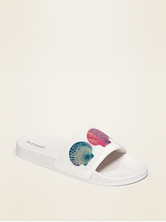 Holographic Faux-Leather Pool Slides for Girls