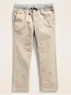Kaki Built-In Flex, coupe moulante, à taille en tricot côtelé pour tout-petit garçon