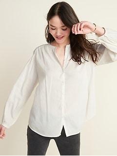 Oversized Smocked-Yoke Shirt for Women