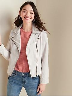 Canvas Moto Zip Jacket for Women