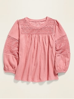 Textured-Jersey Lace-Trim Top for Girls