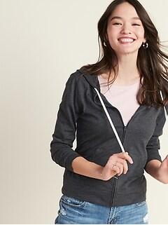 Relaxed Lightweight Slub-Knit Zip Hoodie for Women
