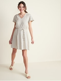 Waist-Defined Jacquard-Stripe Tie-Belt Dress for Women