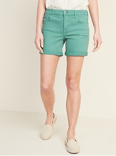 Mid-Rise Distressed Green-Color Jean Shorts -- 5-inch inseam