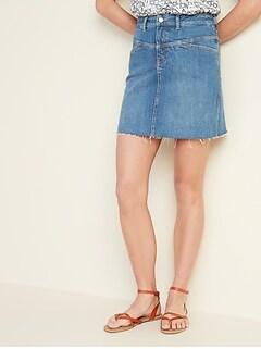 High-Rise Frayed-Hem Jean Skirt for Women