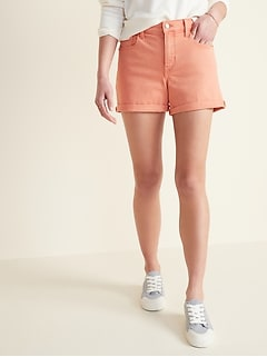 Mid-Rise Pop-Color Boyfriend Jean Shorts for Women -- 3-inch inseam