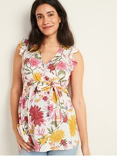 Maternity Floral-Print Cross-Front Waist-Defined Top