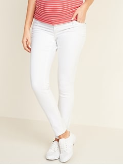 Maternity Premium Full-Panel Rockstar Super Skinny White Jeans