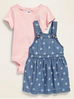 Printed Chambray Skirtall & Bodysuit Set for Baby