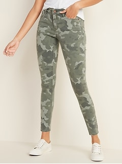 Mid-Rise Floral-Camo Print Rockstar Super Skinny Jeans for Women