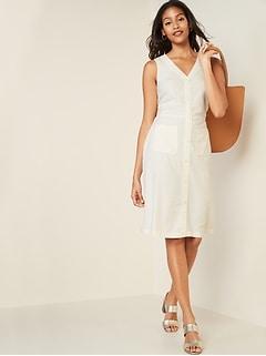 Sleeveless Button-Front Linen-Blend Midi Dress for Women