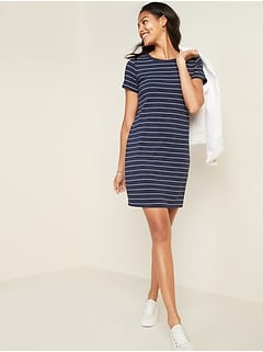 Fitted Striped Crew-Neck Tee Dress for Women