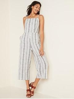 Linen-Blend Geometric-Stripe Cami Jumpsuit for Women