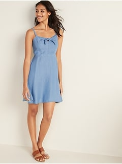 Fit & Flare Chambray Cami Dress for Women