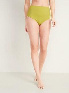 Bas de maillot texturé à taille haute pour femme