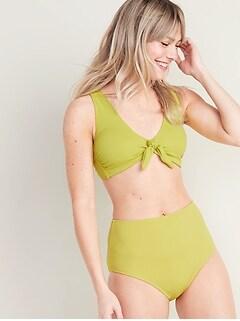 Haut de bikini noué à l'avant en piqué texturé pour femme