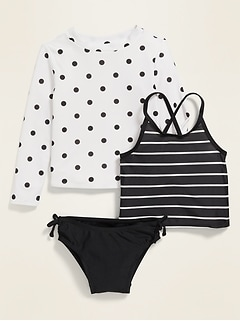 Rashguard & Tankini 3-Piece Swim Set for Toddler Girls