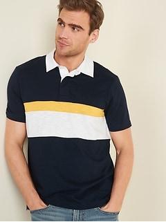 Polo de rugby à manches courtes en tricot grège à tons contrastants pour homme