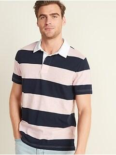 Bold-Stripe Slub-Knit Short-Sleeve Rugby Polo for Men