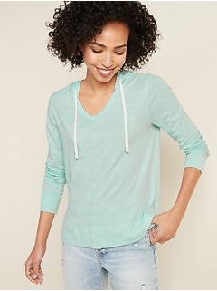 Relaxed Lightweight Slub-Knit Pullover Tee Hoodie for Women