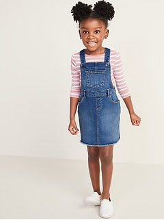 Frayed-Hem Jean Skirtall for Toddler Girls