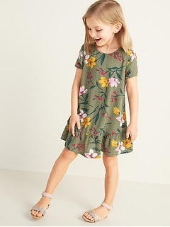 Printed Peplum-Hem Swing Dress for Toddler Girls