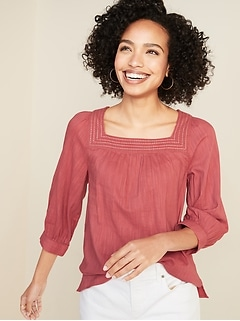 Relaxed Square-Neck Top for Women