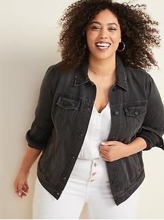 Distressed Black Plus-Size Jean Jacket