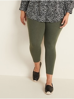 High-Waisted Full-Length Plus-Size Jersey Leggings