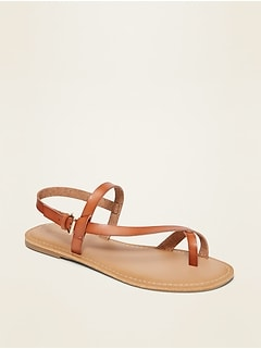 Faux-Leather Asymmetric Cross-Strap Sandals for Women