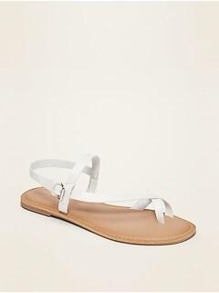 Faux-Leather Asymmetric Cross-Strap Sandals for Women